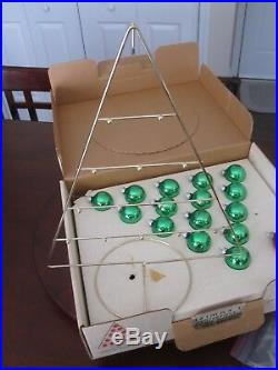 Vintage 1950s Shiny Brite Christmas Tree Centerpiece With Suitcase Style Box