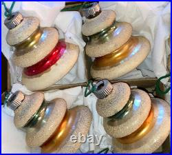 Vintage 1950s Shiny Brite Glass Christmas Tree Ornaments 12 MICA TREES WITH BOX