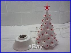 Vintage 1956 MALLORY CERAMIC STUDIO JAMAR WHITE GLITTER CHRISTMAS TREE withRED