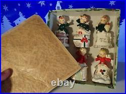 Vintage 1957 NAPCO Christmas ANGEL BELL TREE ORNAMENTS Boxed SET OF SIX Box Worn