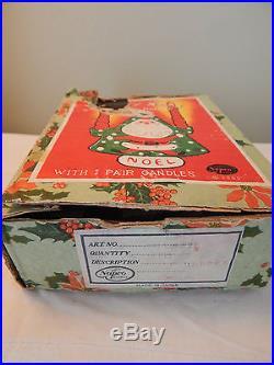 Vintage 1959 Napco Santa Christmas Tree Noel Candle Holder IOB Japan HTF