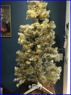 Vintage 1960s -70s Christmas Tree, Gold Tinsel, Made In Great Britain