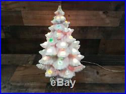 Vintage 1960s Ceramic Christmas Tree Marbles Frosted With Music Box 15 Tall