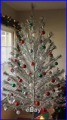 Vintage 1960s Mid Century Modern Aluminum Sparkler Pom Pom 7ft Christmas Tree