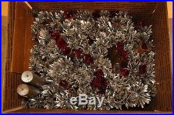 Vintage 1960s Peco 7 Aluminum Christmas Tree Stainless Steel Pom Pom 118 Branch
