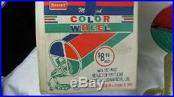 Vintage 1960s Penetray Motorized Aluminum Christmas Tree Color Wheel with Box