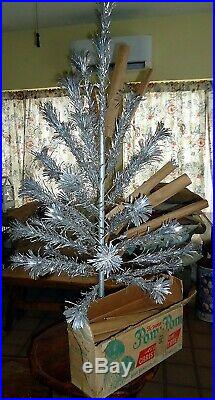 Vintage 1964 Aluminum Pom 4ft Christmas Tree n Box Complete with papers Excellent