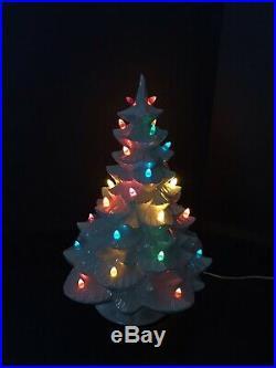 Vintage 1964 Arnel's Pearl White Iridescent 18 Ceramic Lighted Christmas Tree