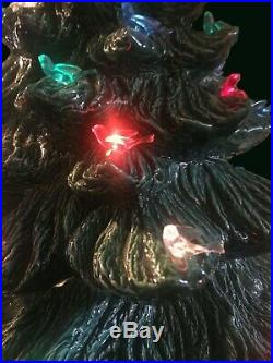 Vintage 1970's 25 Holland Mold Illuminated Ceramic Christmas Tree With Base