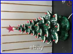 Vintage 1970's Hand Painted Ceramic Christmas Tree Snow Pink Bulbs Star 17