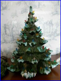 Vintage 1970s Ceramic 20 Christmas Tree Flocked Atlantic Mold Frosted WithBase