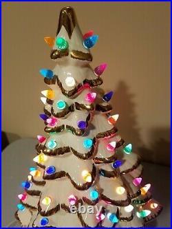 Vintage 1972 Ceramic Gold Flake Multi Color Christmas Tree 18 Holland Mold EUC