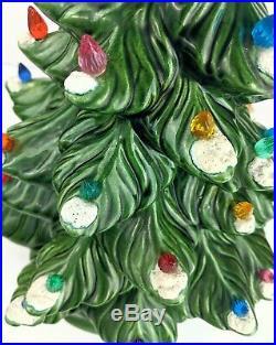 Vintage 1974 Atlantic Mold Musical Christmas Tree Light Snow flocked Ceramic 19