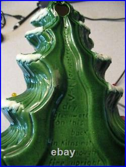 Vintage 1975 Atlantic Mold Wall Hanging Flocked Ceramic Christmas Tree 17T