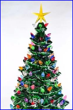 Vintage 1975 Ceramic Christmas Tree, 19, With Decorative Stand