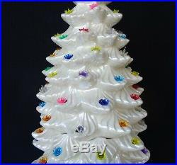 Vintage 1979 Atlantic Mold 34 Ceramic 3 Piece Opalescent Christmas Tree & Star