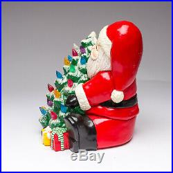 Vintage 1980's Santa Holding Christmas Tree Ceramic Figure with Light Pegs