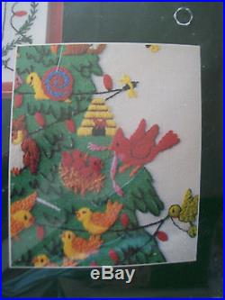 Vintage 1985 Dimensions Crewel Christmas Spirit Holiday Tree of Life Kit 14X18