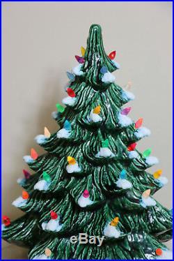 Vintage 1986 Nowell Mold 16 1/2 Tall Ceramic Flocked Christmas Tree Holly Base