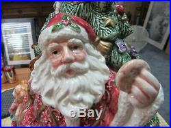 Vintage 1995 Fitz And Floyd Large Christmas Tree And Santa Cookie Jar Rare