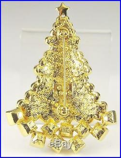 Vintage 1999 SWAROVSKI CRYSTAL Christmas Tree Sweater Ornament Gold Tone Brooch