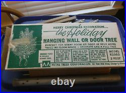 Vintage 2' Aluminum the Holiday Hanging Wall or Door Christmas Tree K2000