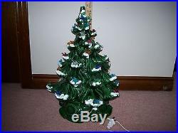 Vintage 2 Part Large Ceramic Christmas Tree Lights Up 15 Snow Birds