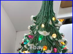 Vintage 2 Piece Nowell Ceramic Lighted Christmas Tree 22 x 16. WithBulb. RARE