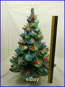 Vintage 21 Ceramic Christmas Tree Green withMulti Colored Lights