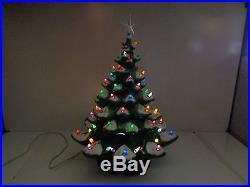 Vintage 22 ATLANTIC MOLD 3 PC FLOCKED Ceramic Christmas Tree with Bulbs & Star