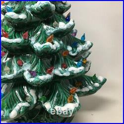 Vintage 22 Ceramic Flocked Lighted Christmas Tree