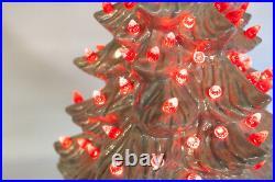 Vintage 22 Ceramic Music Box Christmas Tree Iridescent with Reb Bulbs Damage