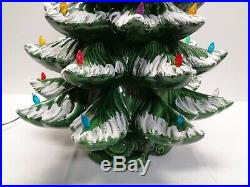 Vintage 23 Flocked MOLD Green Ceramic Christmas Tree & Colored Bulbs 2 piece