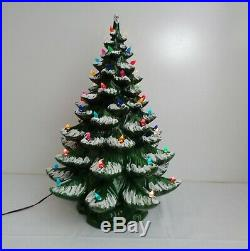 Vintage 23 Flocked MOLD Green Ceramic Christmas Tree & Colored Bulbs 2 piece