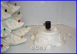 Vintage 23 White Pearl Iridescent Ceramic Christmas Tree Atlantic Mold Style