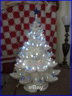 Vintage 25 Atlantic Mold White Ceramic Christmas Tree Blue Butterflies & Lights