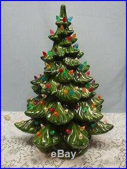 Vintage 3 Piece Ceramic Christmas Tree with Bulbs & Base 18 1/2 Tall