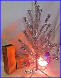 Vintage 4' 31 Branch Splendor Stainless Aluminum Christmas Tree With Color Wheel