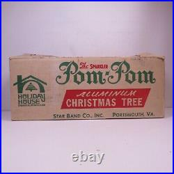 Vintage 4' Aluminum Foil Christmas Tree The Sparkler Pom Pom 46 Branches