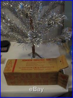 Vintage 4 Ft Evergleam Stainless Aluminum Christmas Tree Original Box POM POM