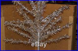Vintage 4 foot Tall Aluminum Christmas Tree w Box Mid Century Holiday Xmas