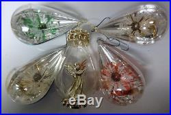 Vintage 5 Japan Indent Diorama Angel Stars Teardrops Christmas Tree Ornaments