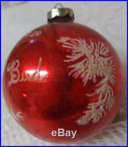 Vintage 50's BUD Christmas Tree Glass Large Red Balll Santa Face Ornament Huge