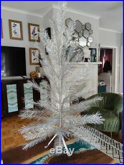 Vintage 50s Aluminum Christmas Tree 4ft Color Wheel in Box, Retro Kitchmas MCM