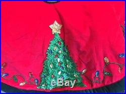 Vintage 54 Holiday Velour Christmas Tree Skirt With Sequins Gorgeous Classy EUC