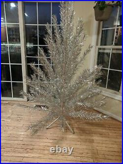 Vintage 6 1/2 Foot Aluminum Christmas Tree Craft House withTripod & 68 branches
