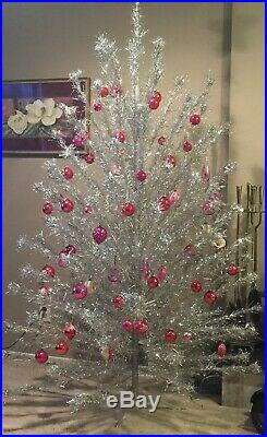 Vintage 6 1/2 ft Aluminum PomPom Christmas Tree with 119 Branches 1960s
