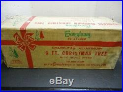 Vintage 6' EVERGLEAM Silver Aluminum Christmas Tree New in Box 94 Branches