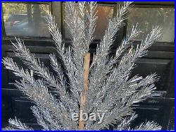 Vintage 6' Stainless Aluminum Christmas Tree Mid Century 56 Branches