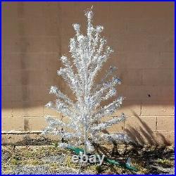 Vintage 6 ft, 55 branch pom pom aluminum Christmas tree